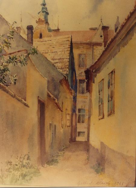 Der noch namenlose Rollerweg (Blickrichtung Oberhoferstraße) auf einem 1945 entstandenen Aquarellgemälde der Malerin Auguste Mlczoch-Gelbert