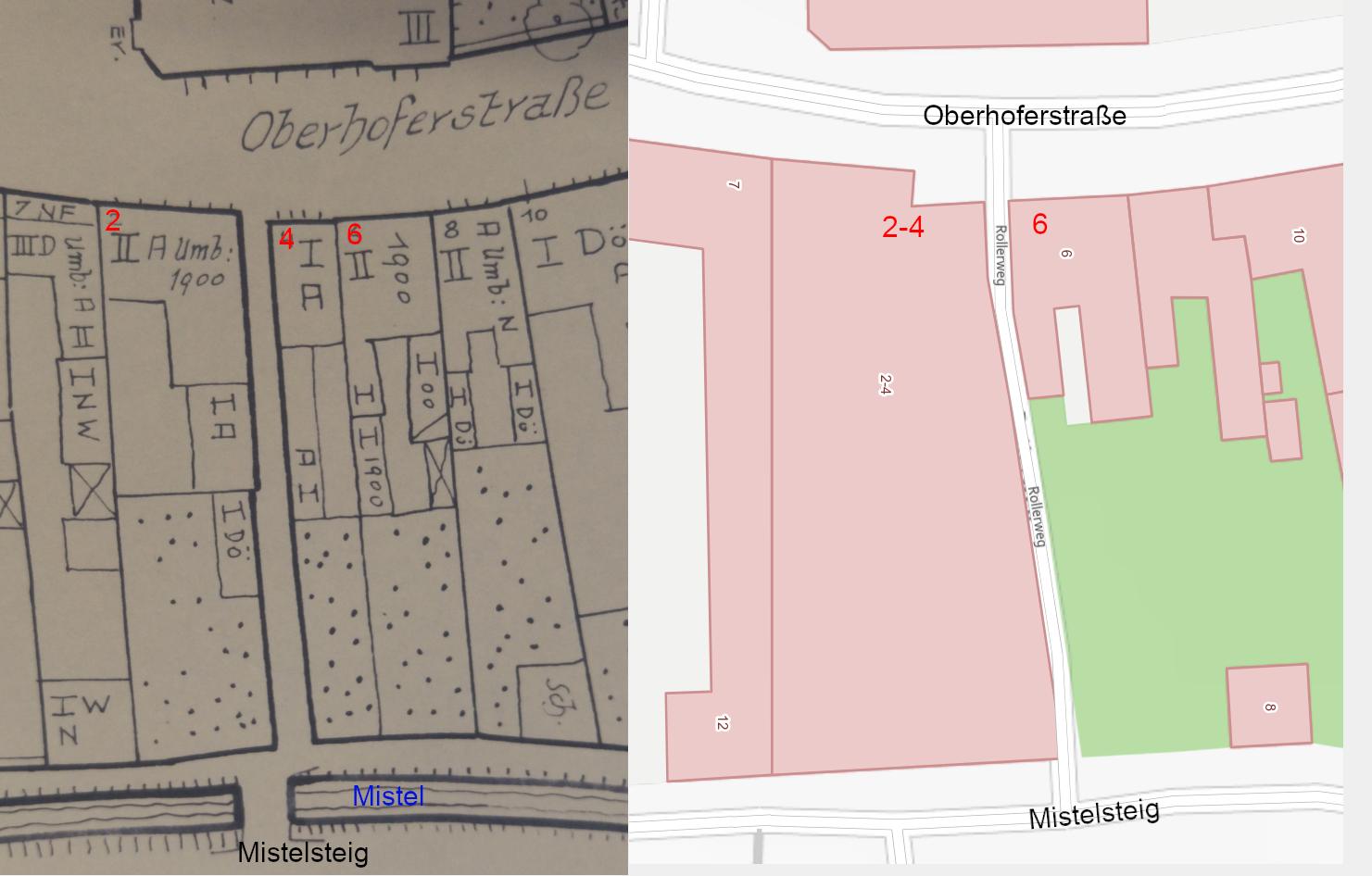 Links der alte Verlauf des Rollerwegs (zw. Nr. 2 u. 4) auf einem Plan aus dem Jahr 1947, rechts der Verlauf seit 1965 (zw. 2-4 u. 6)