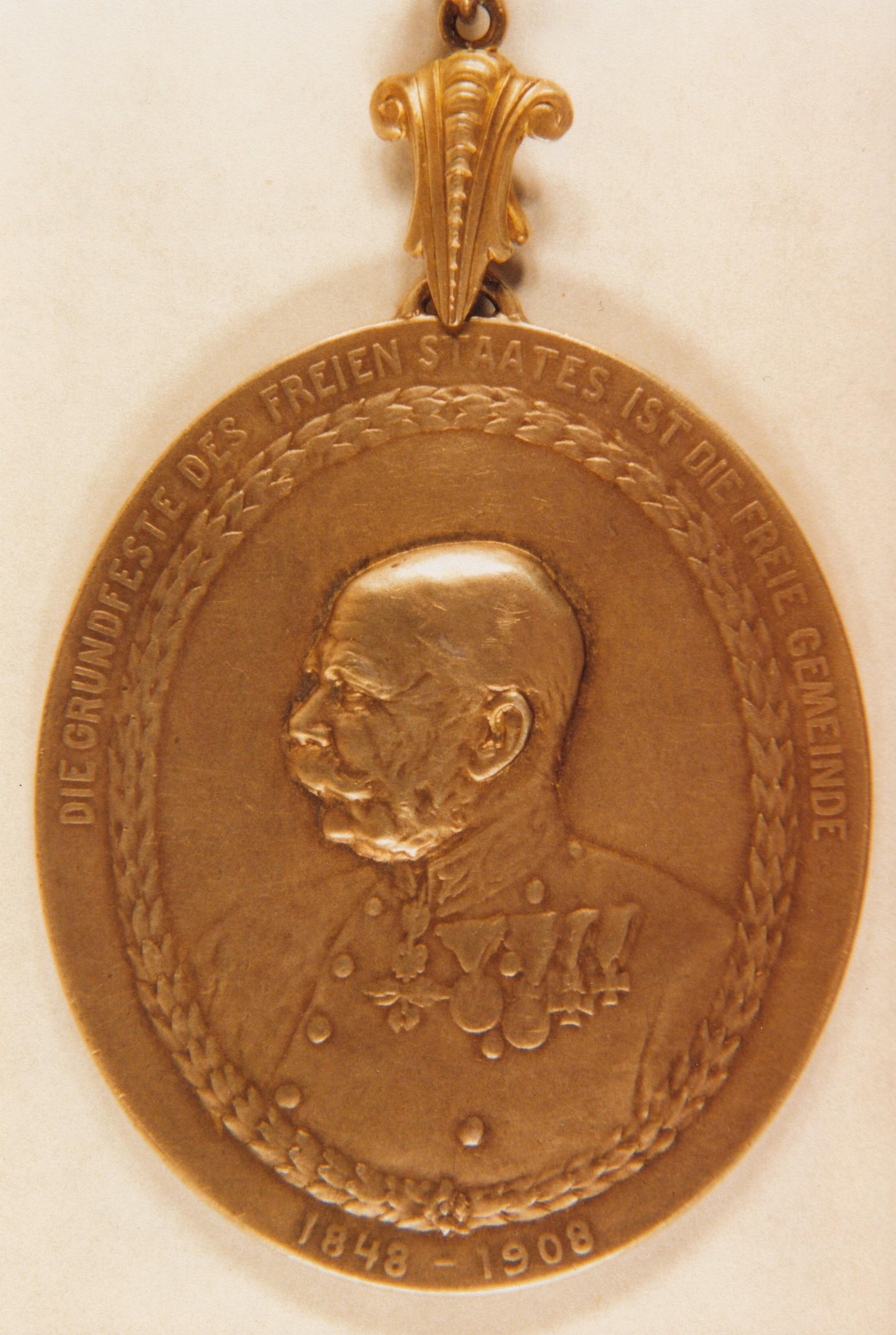 Vorderseite der vom Landtag gestifteten Bürgermeister-Medaille