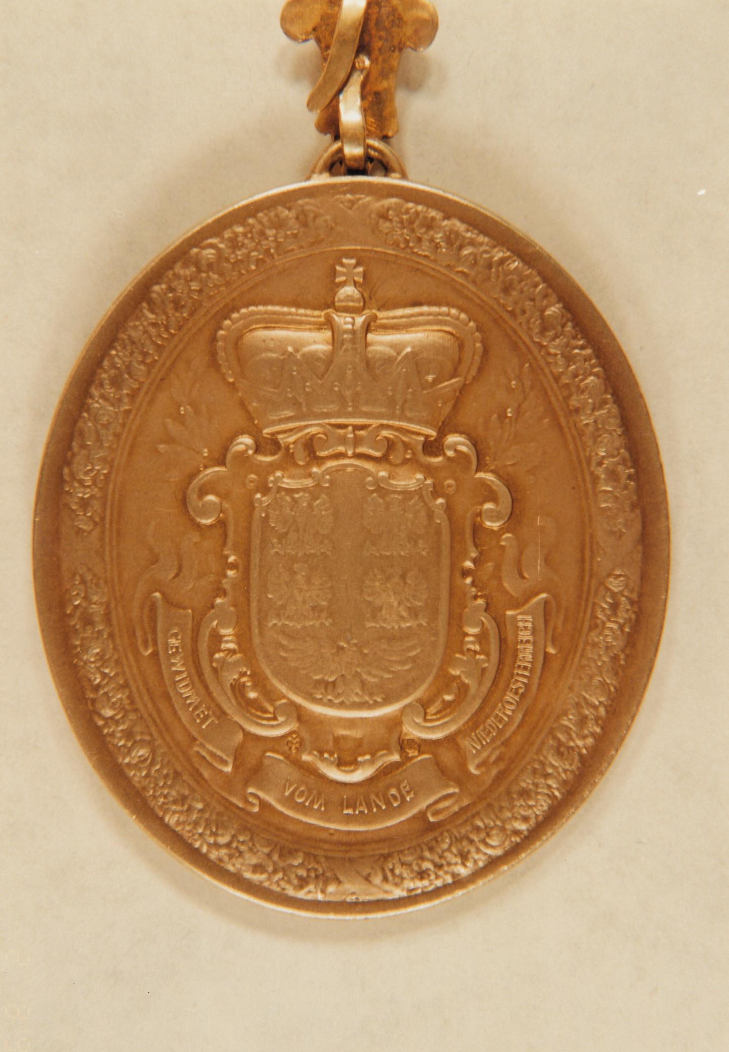 Rückseite der vom Landtag gestifteten Bürgermeister-Medaille